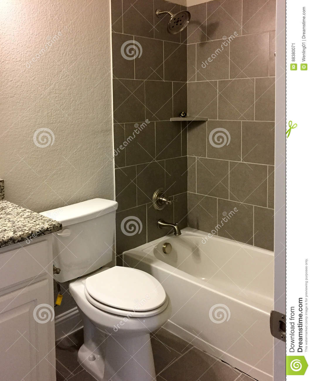 Nice Bathtub And Toilet In A New Bathroom Stock Image - Image of ...
