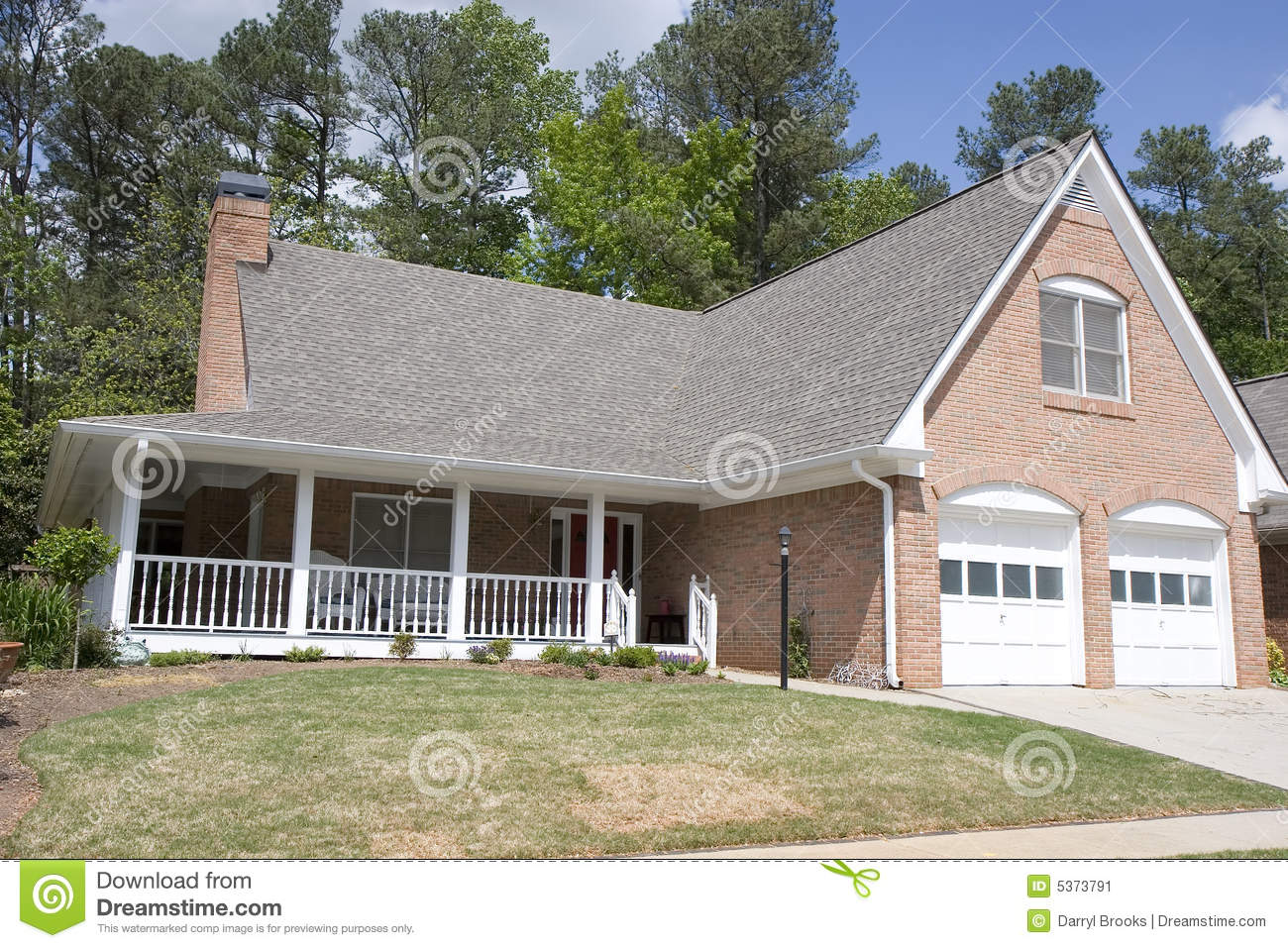 Nice Brick House With Veranda Stock Image Image 5373791