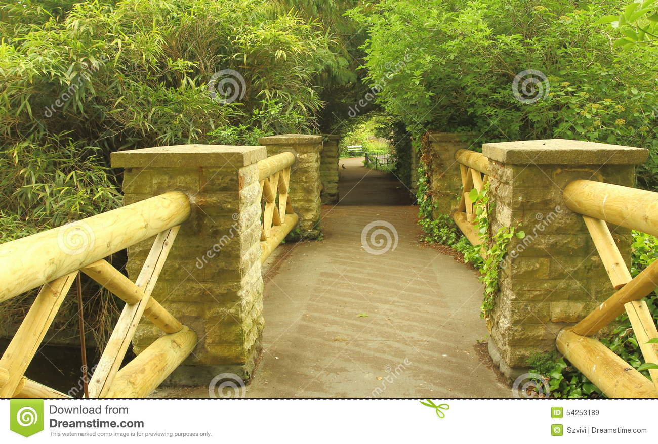 Nice bridge in a park stock image. Image of wooden, victoria - 54253189