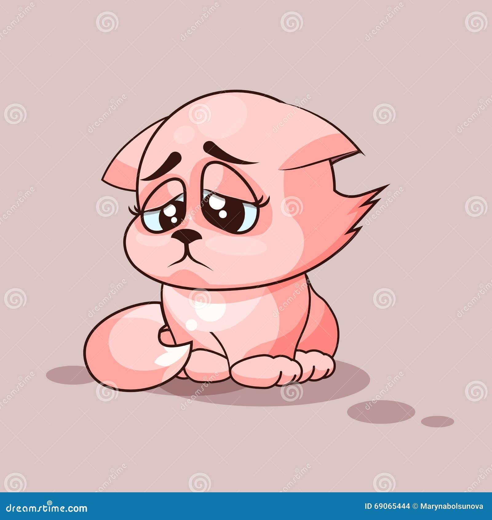Vector Stock Illustration Emoji character cartoon cat sad and ...