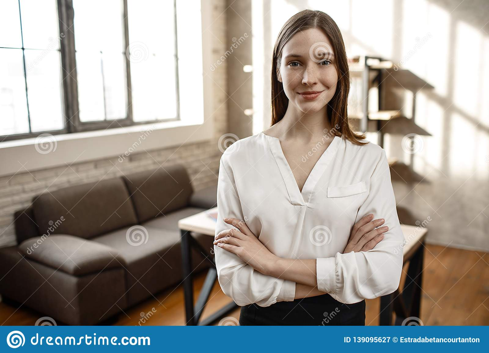 Nice Cheerful Businesswoman Pose On Camera  She Stand Alone