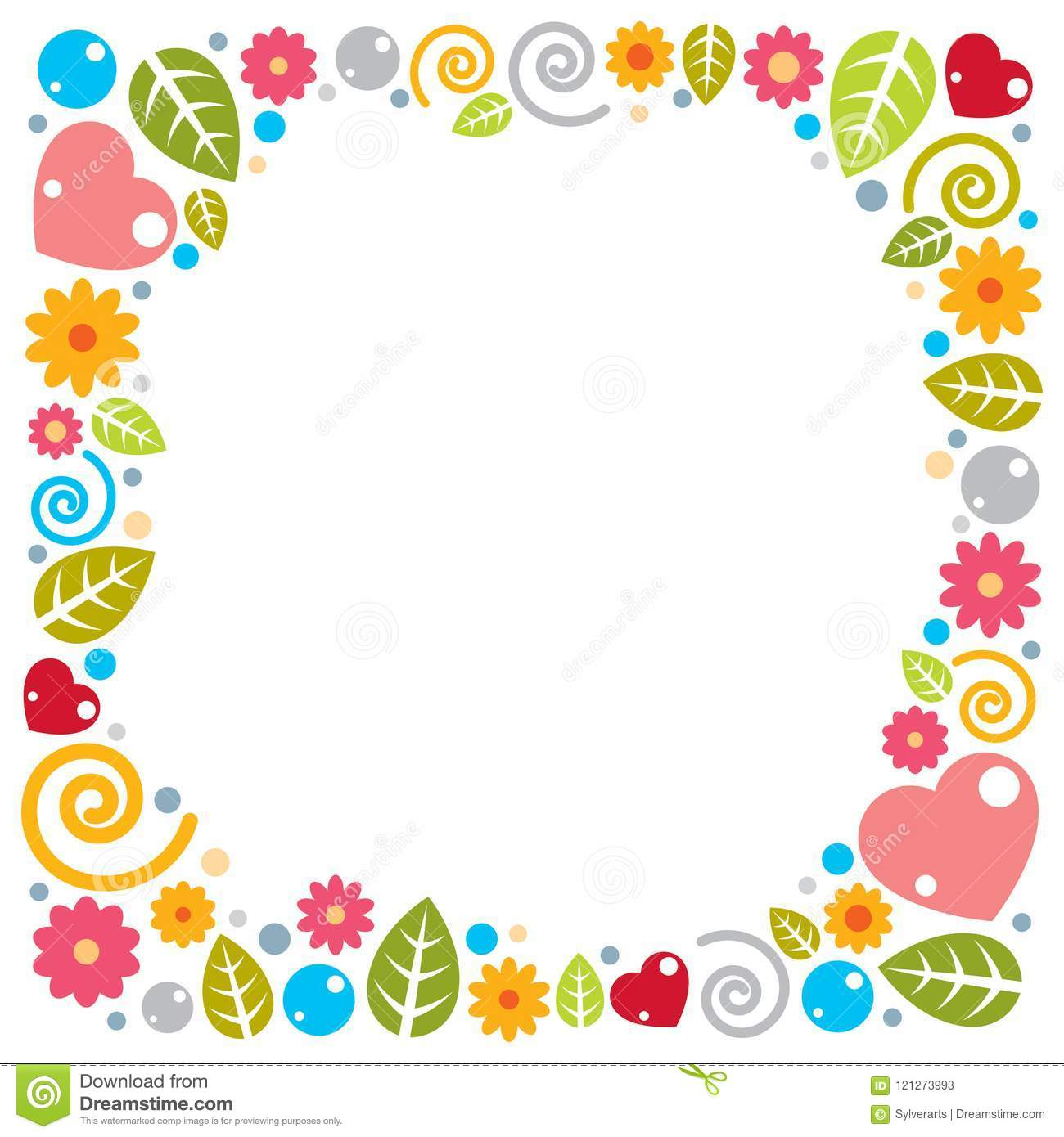 Nice Childish Frame Of Flowers Hearts And Leaves Vector