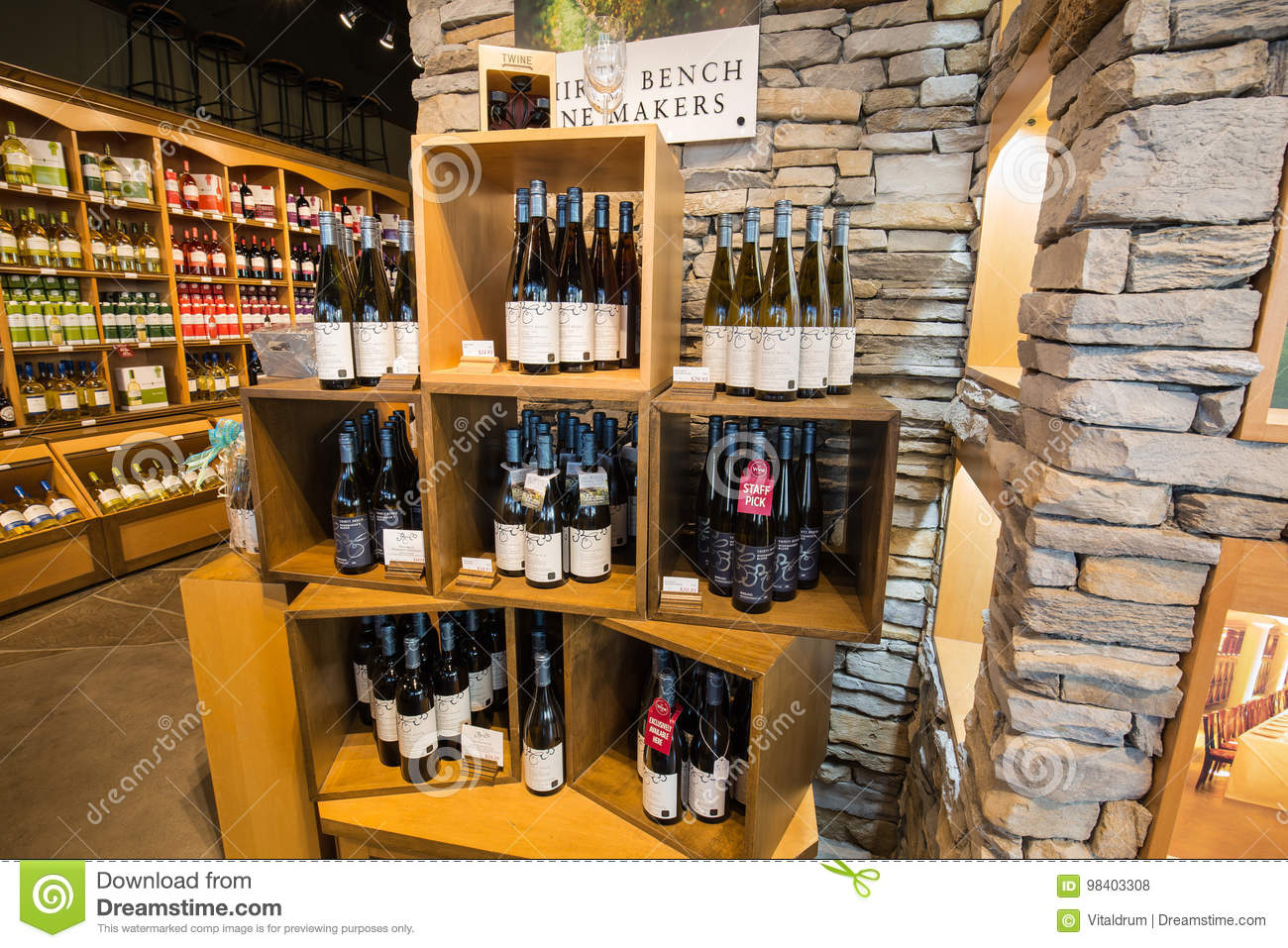 Nice Closeup View Of Various Delicious Wine On Wooden Shelf