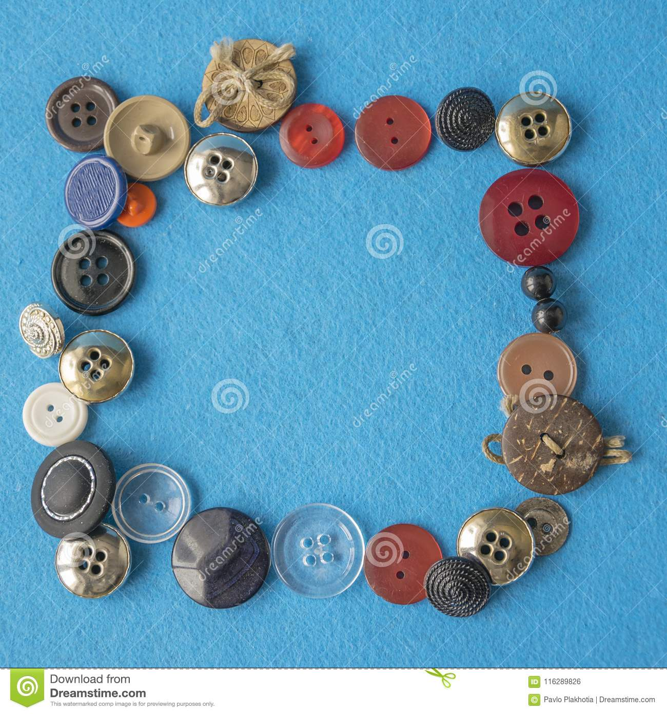Nice Colorful Frame With Various Sewing Buttons Stock Photo - Image ...
