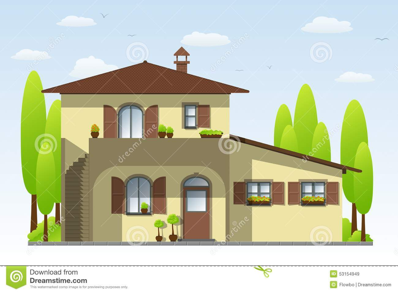 Nice country house stock vector image of outdoors Toscana house