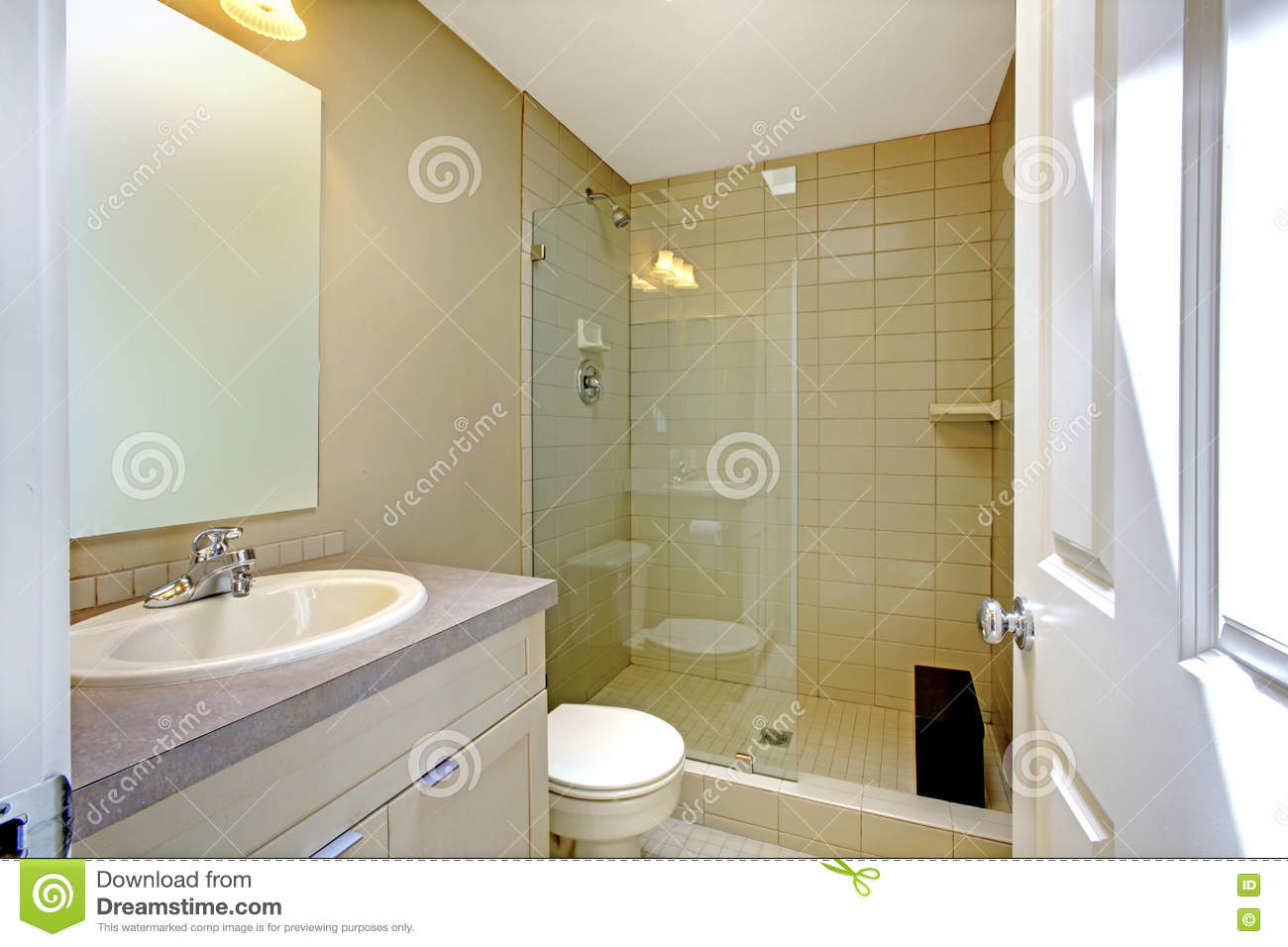 Cabinet D Architecte Nice nice creamy bathroom interior with glass shower and white