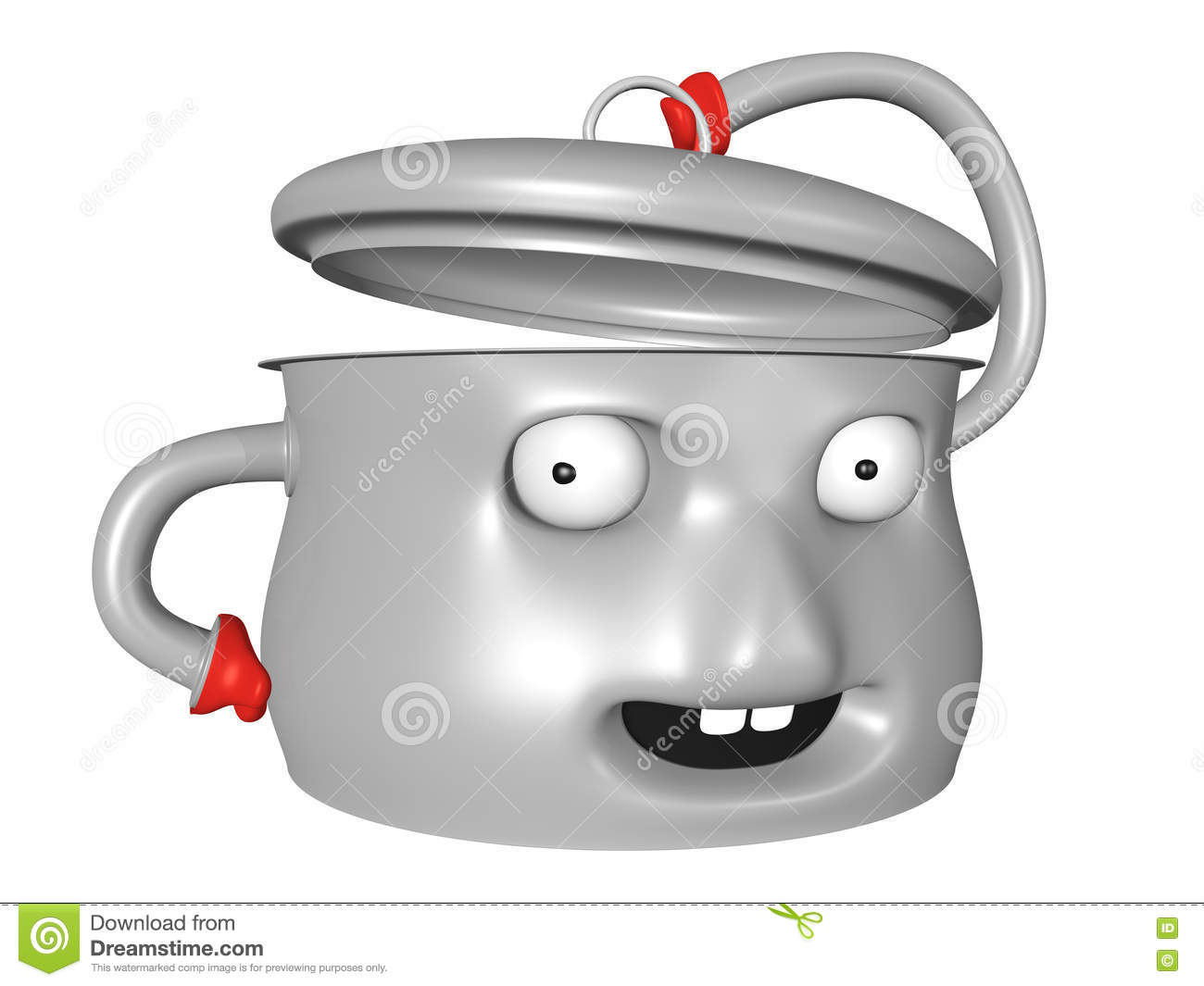 Nice 3D Pot With Smiling Face Is Holding The Lid Open Stock ...