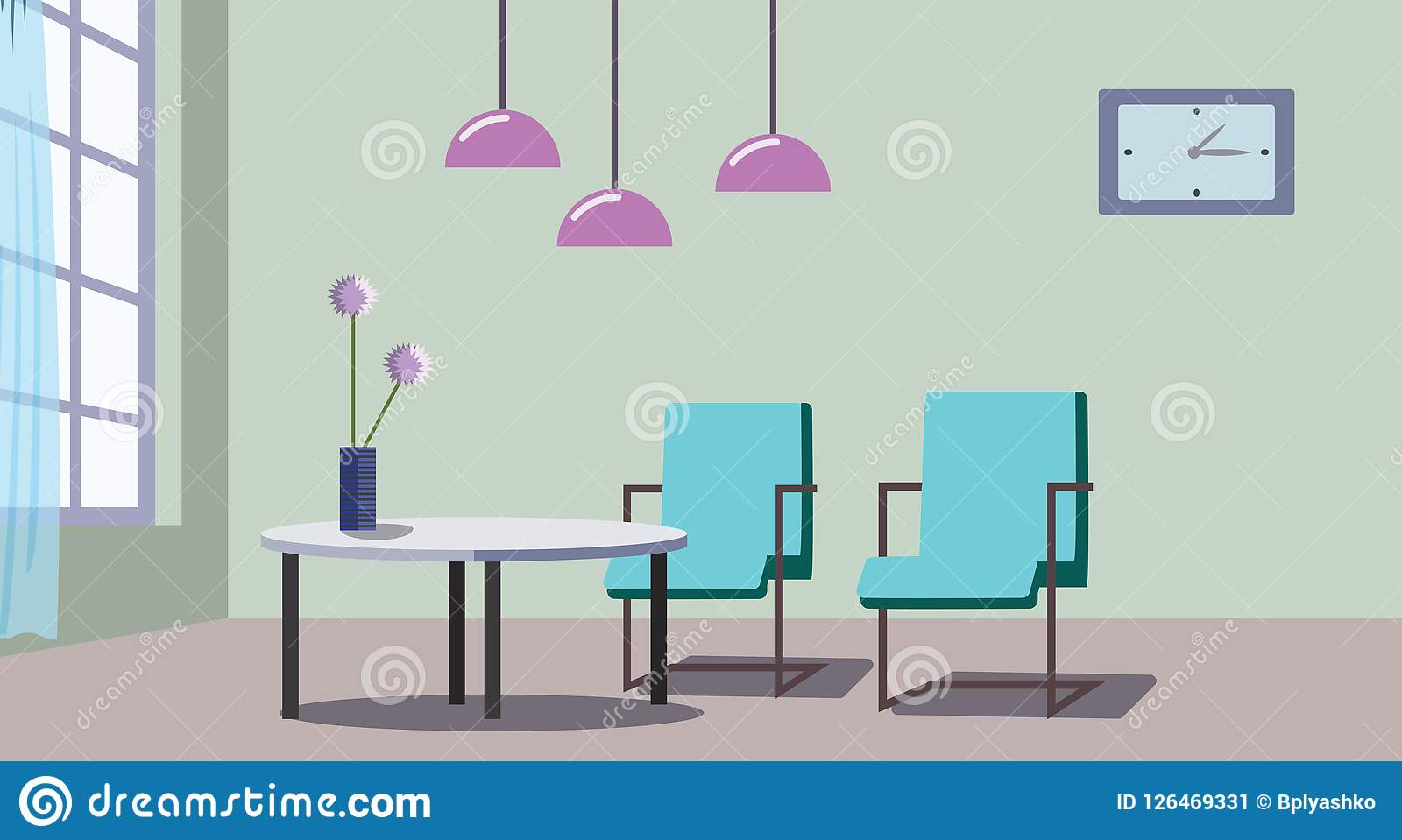 Nice Design Of A Cozy Living Room Stock Vector