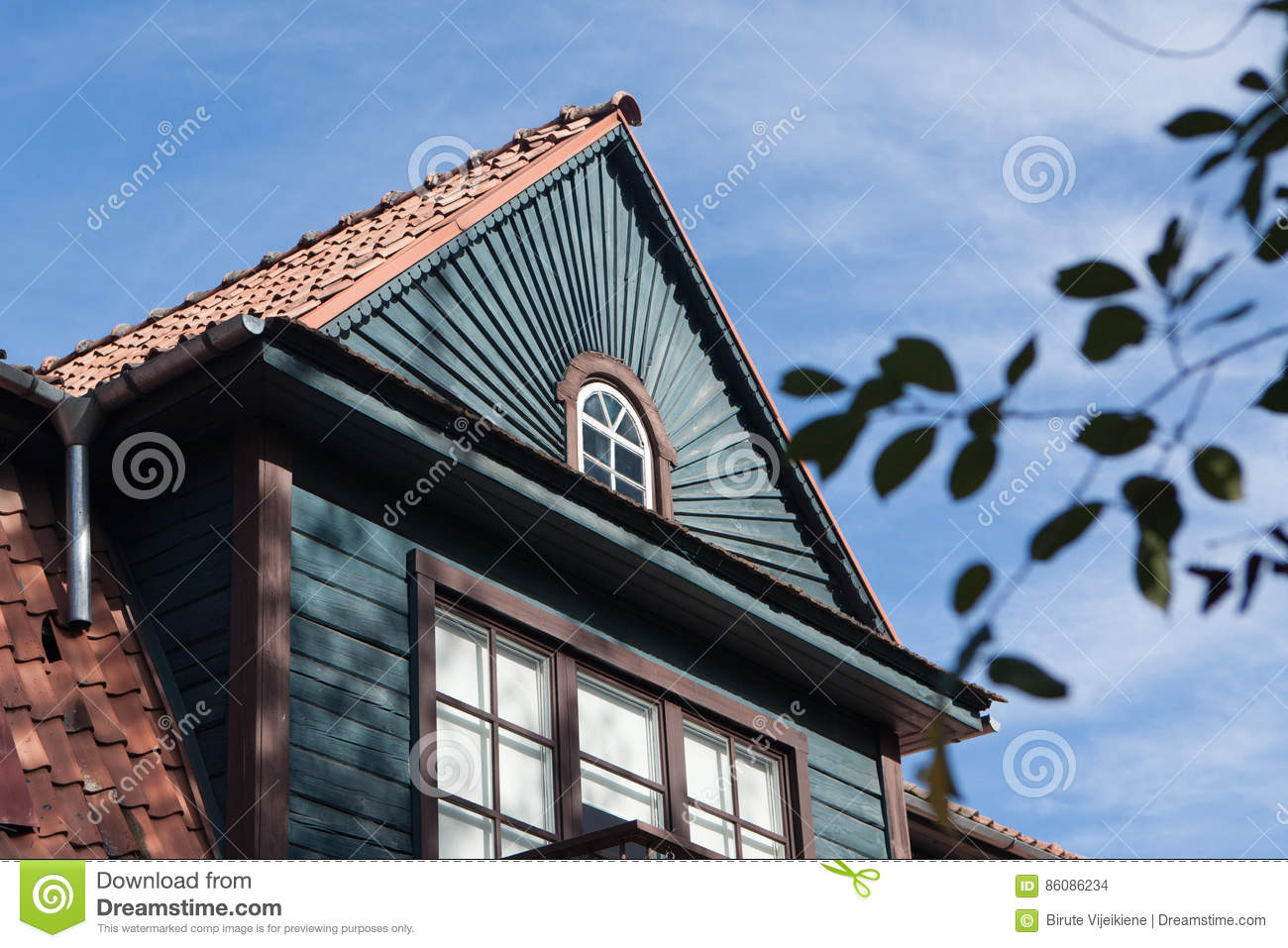 Nice detail of some old wooden house in Zverynas, Vilnius, Lithuania