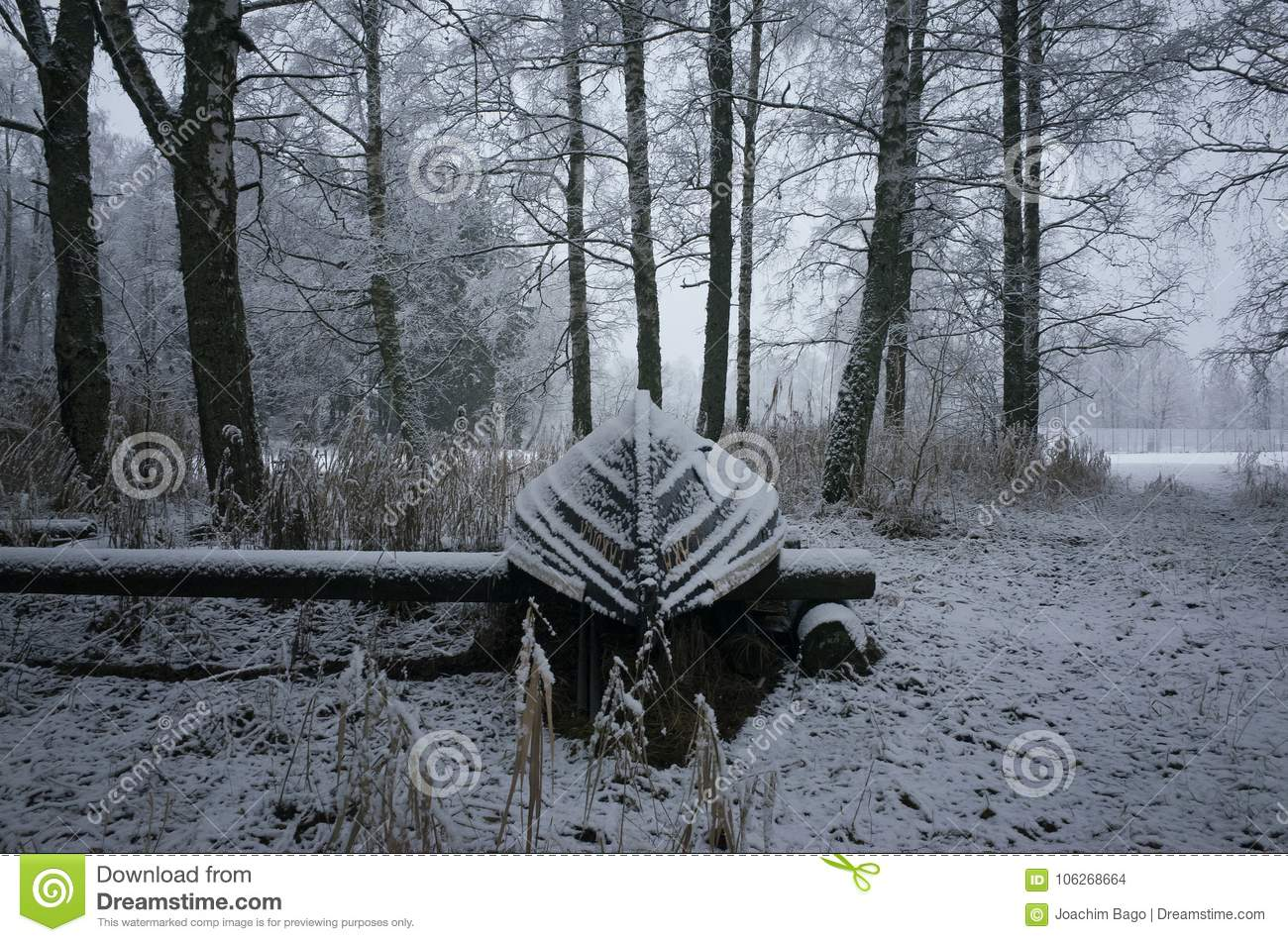 Nice details photo of frosty snowy boat on land in Sweden Scandinavia at winter
