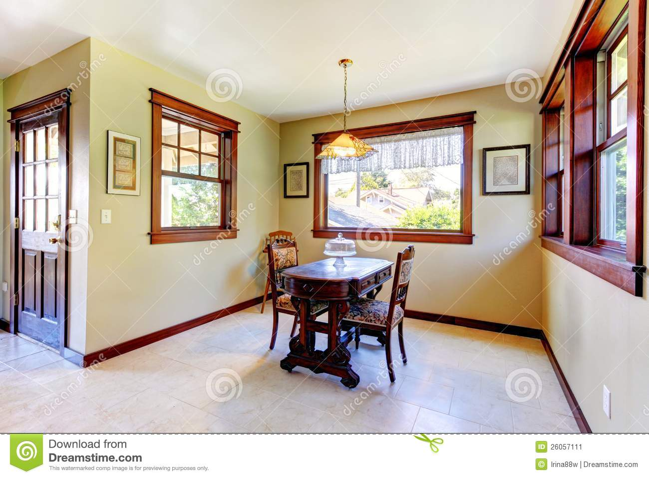 Nice Dining Room With Wood Walls Stock Image Image