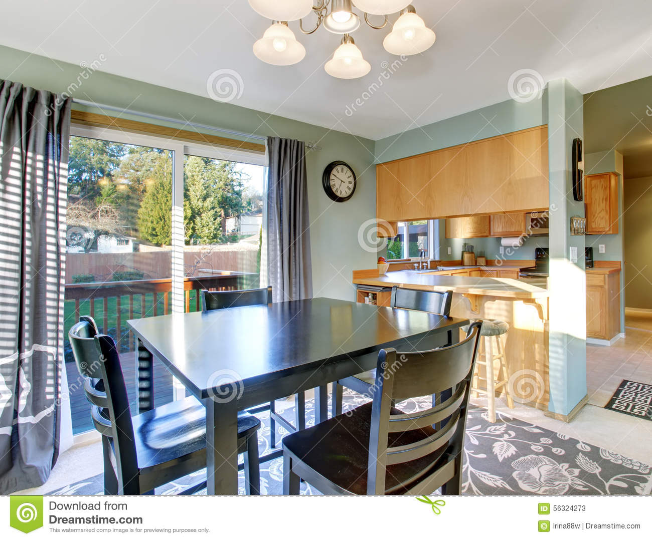Nice Dinning Room With Carpet And Windows Stock Image Image Of
