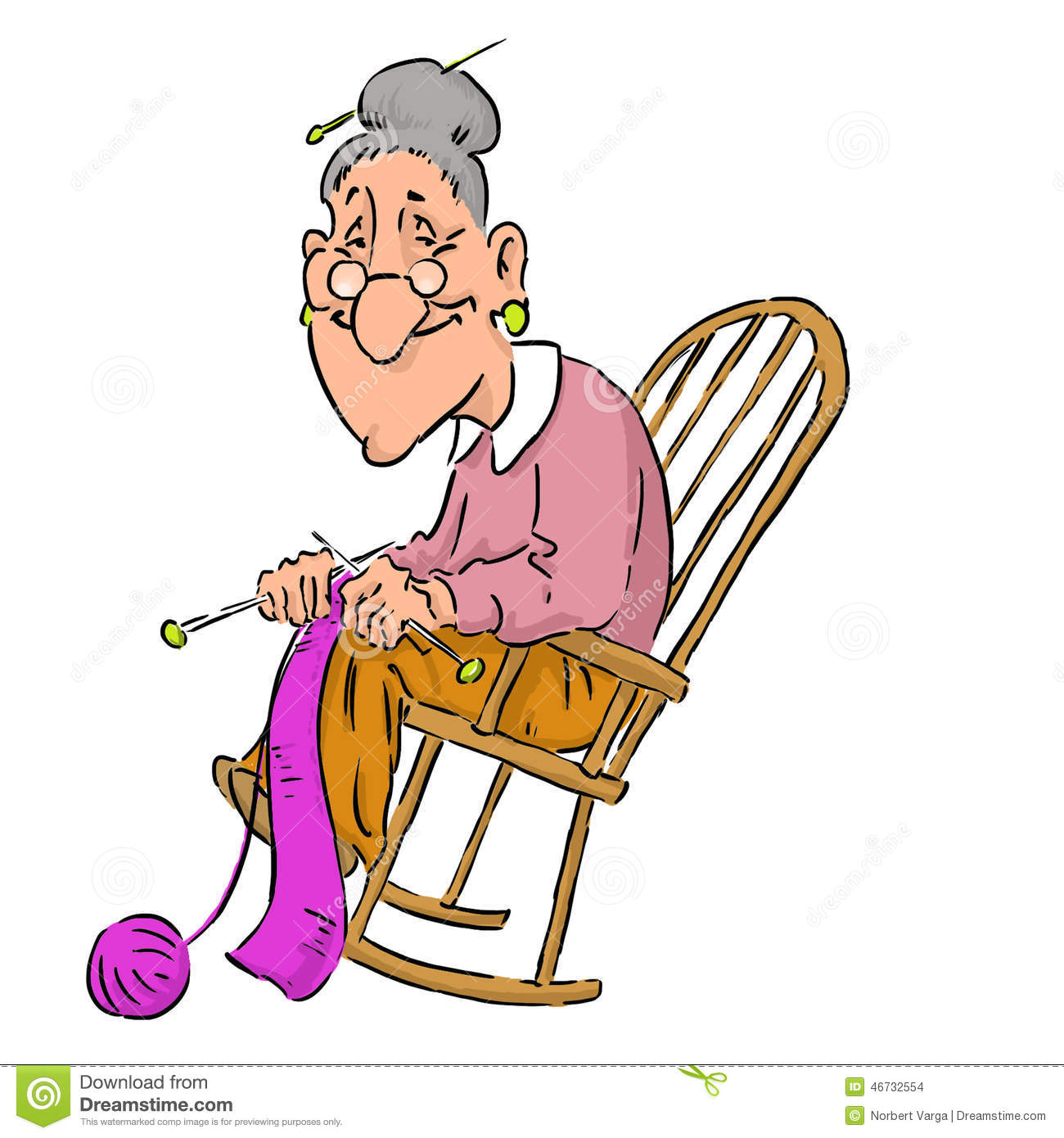 nice elderly grandma in a rocking chair  stock vector