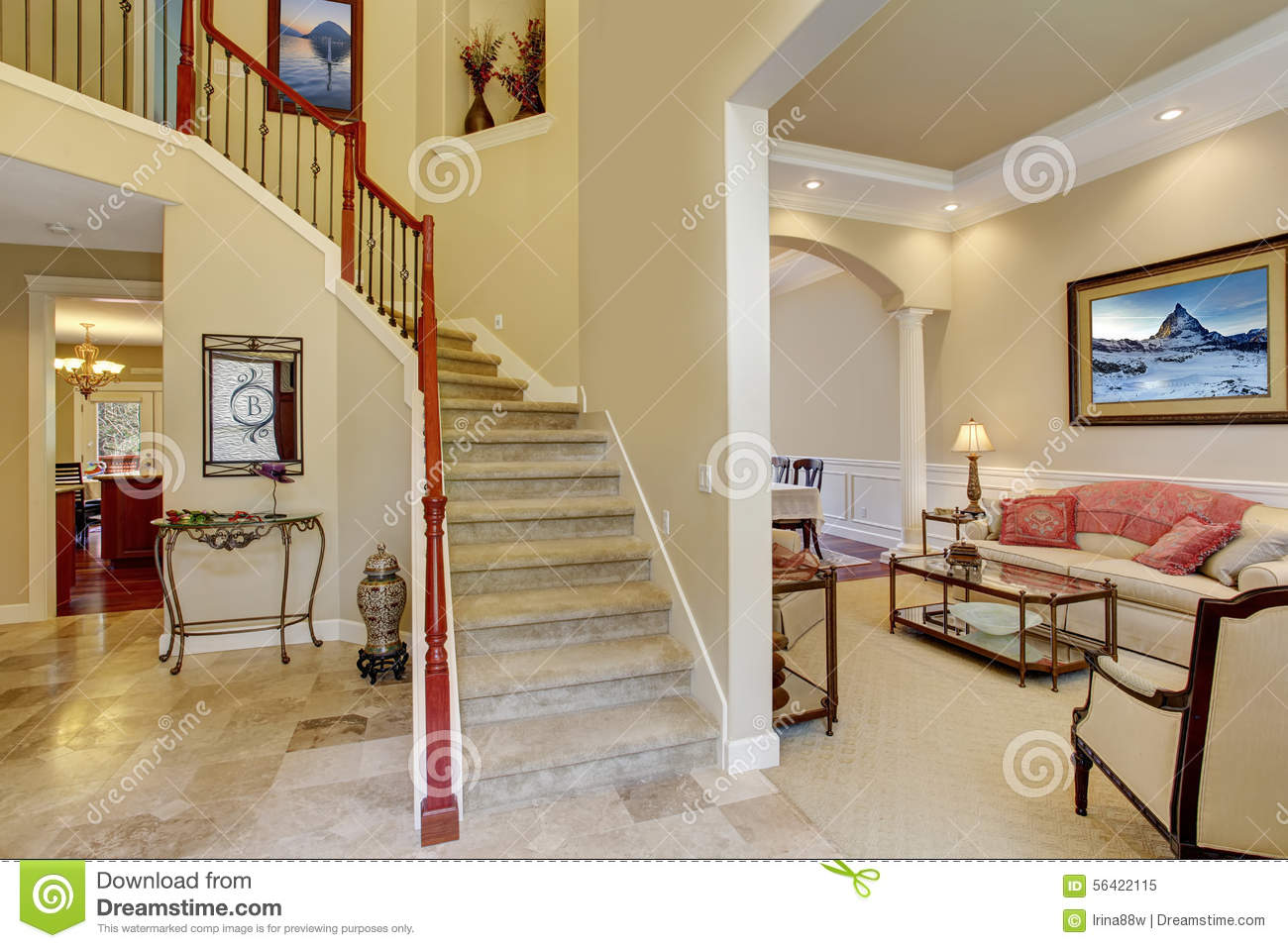 Nice Entry Way With Stairs And Nice Flooring Stock Image