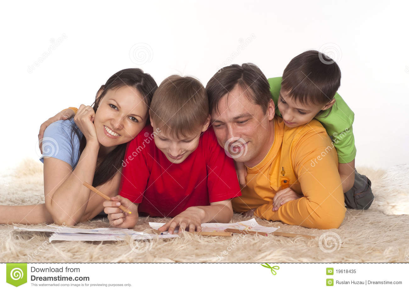 Nice family drawing on a carpet
