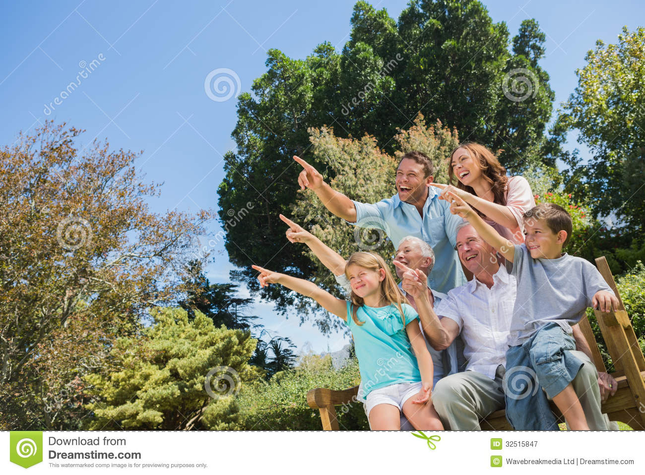 Nice family and grandparents pointing into the sky