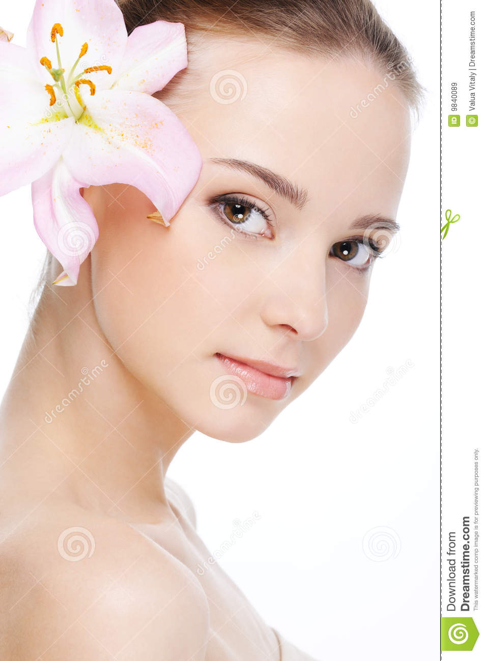 Nice female face with health skin