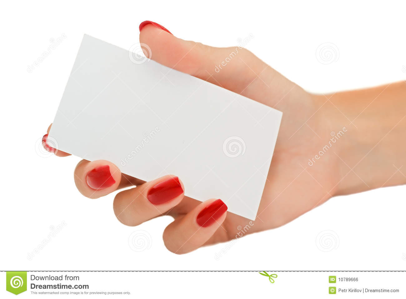 nice female hand holding a blank business card stock photo image