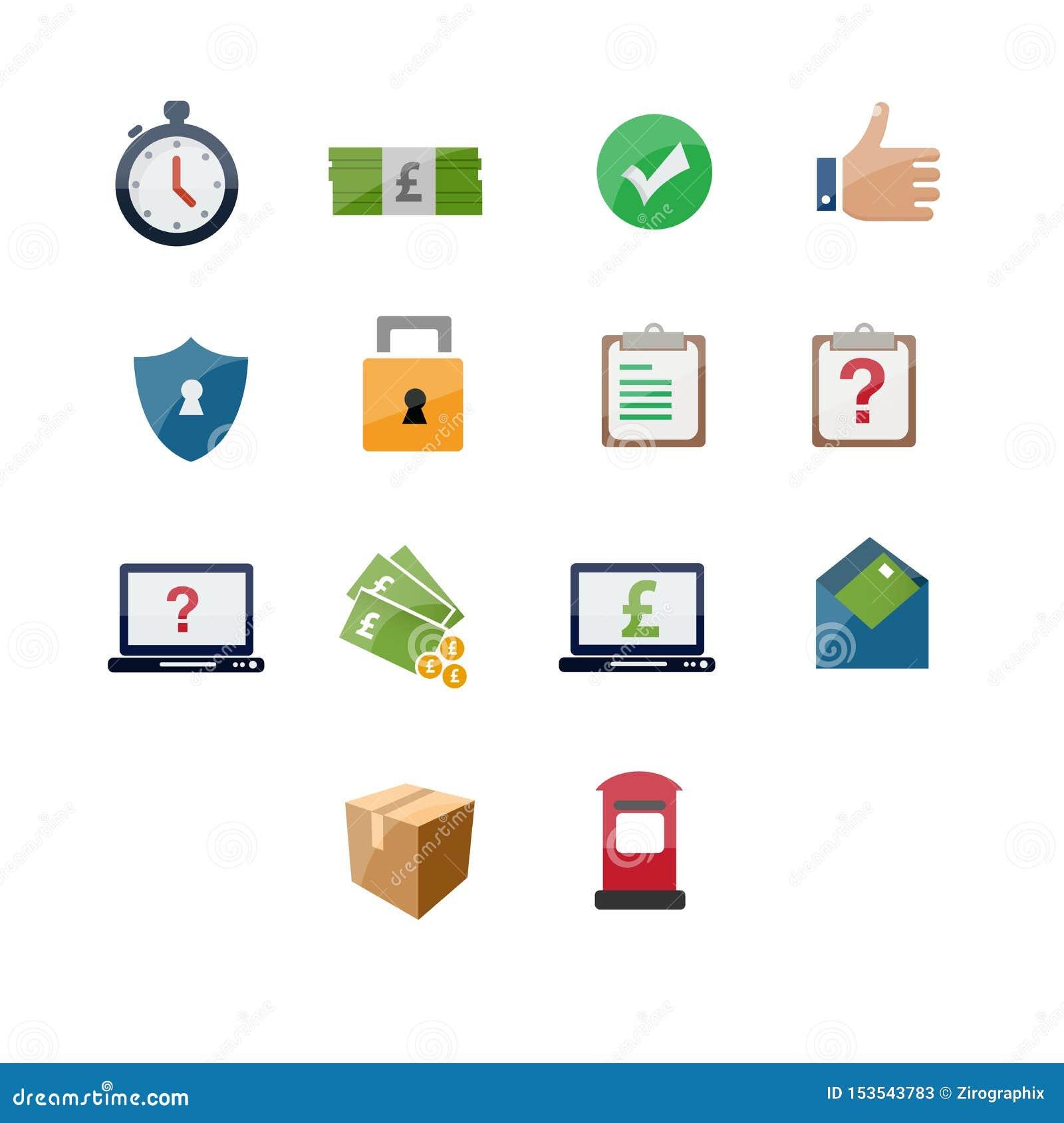 Courier service icon set design