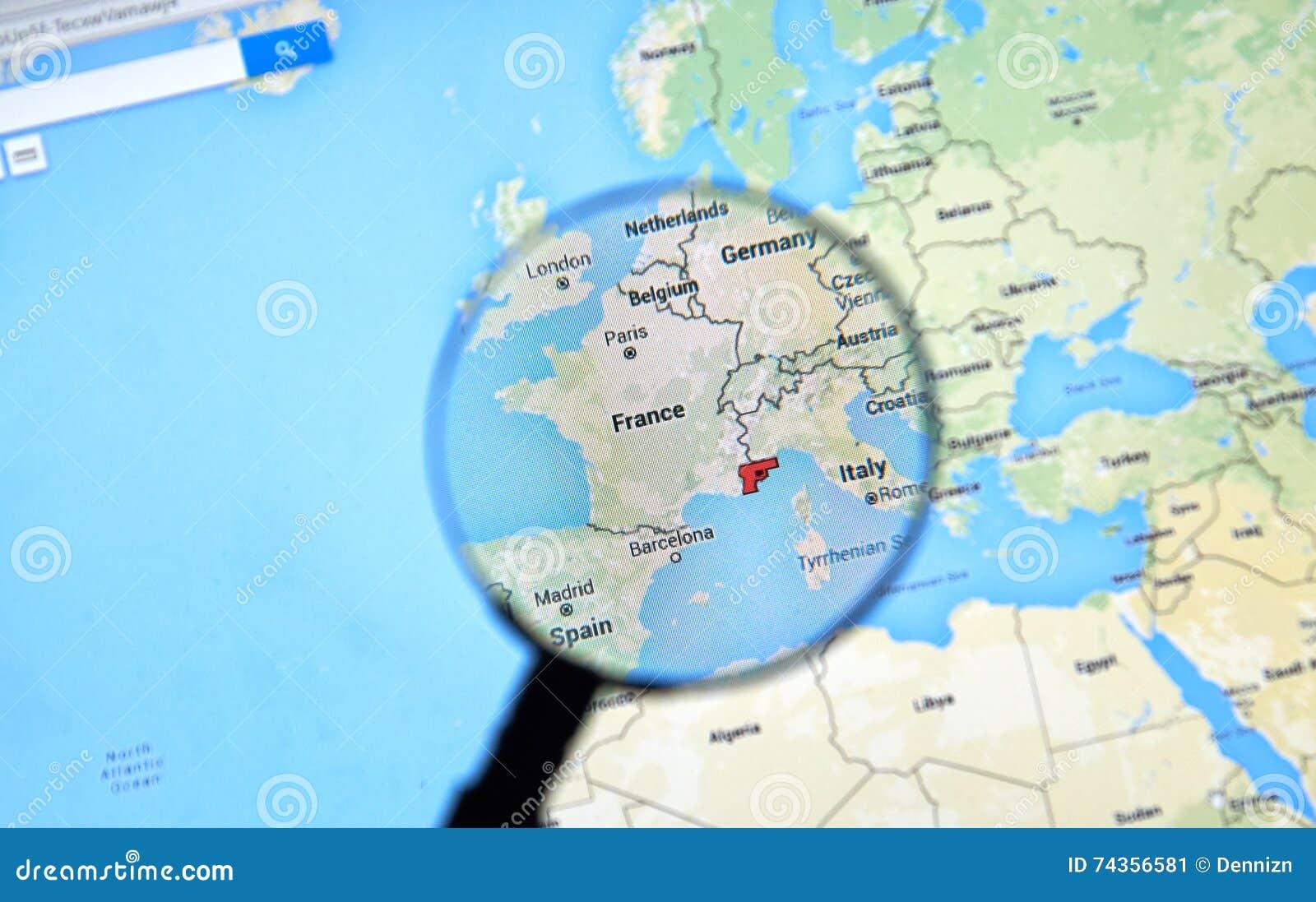 Nice, France On Google Maps Editorial Photo - Image of communication ...