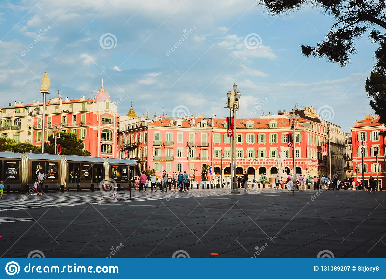 NICE, FRANCE - JUNE 26, 2017: Central Square - Place Massena, landmark of the town of Nice. A pedestrian-only square, is surrounde