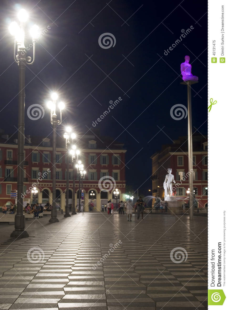 Nice, France. Massena Square in the night