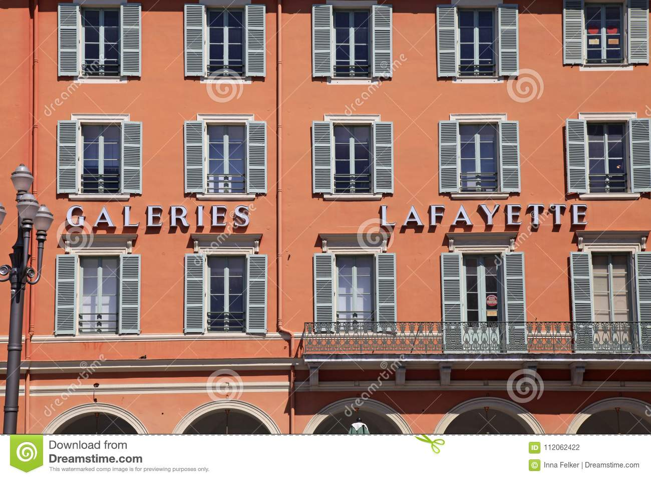 Detail of Gallery Lafayette on the Place Massena, Nice, France.