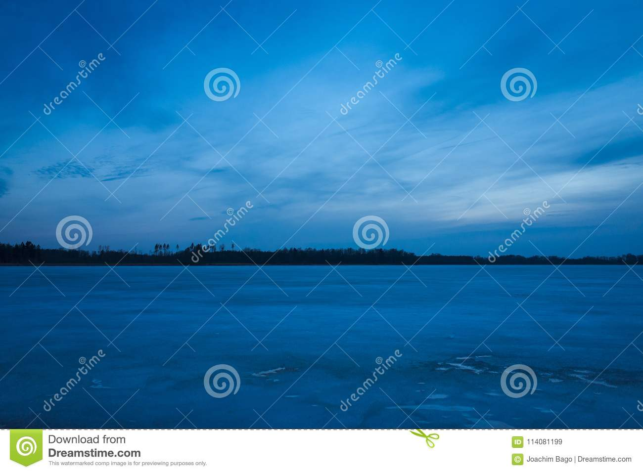 Nice Fresh Blue Dusk Sky At Sunset And Ice Lake In Sweden
