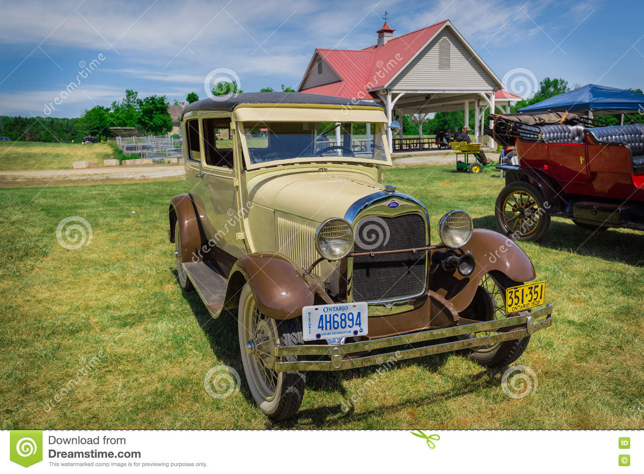 Nice Front View Of Old Classic Vintage Retro Car In Park Stock Photo ...