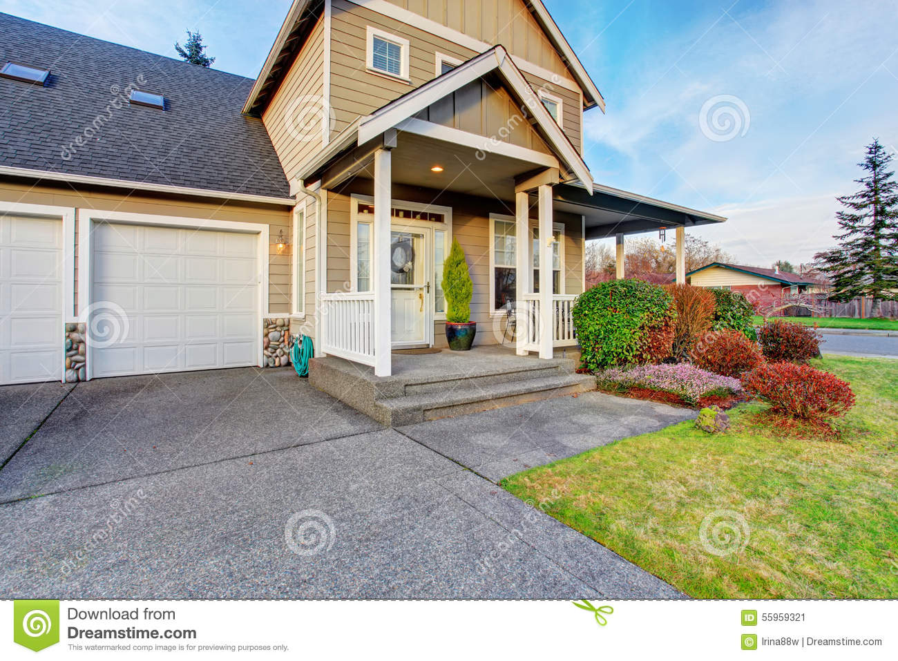 Nice Front Yard With Porch And Walkway.nice Front Yard