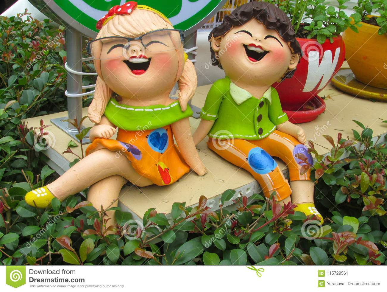 Nice Funny Colorful Welcoming Figures Of Smiling Boy Girl And Animal In Asian Pagoda Garden