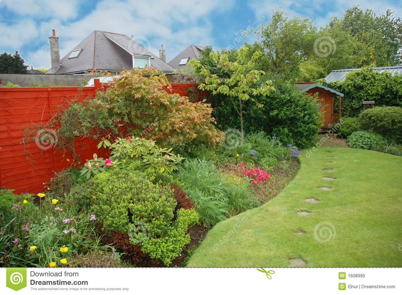 Nice Garden With Flowers Royalty Free Stock Photo Image