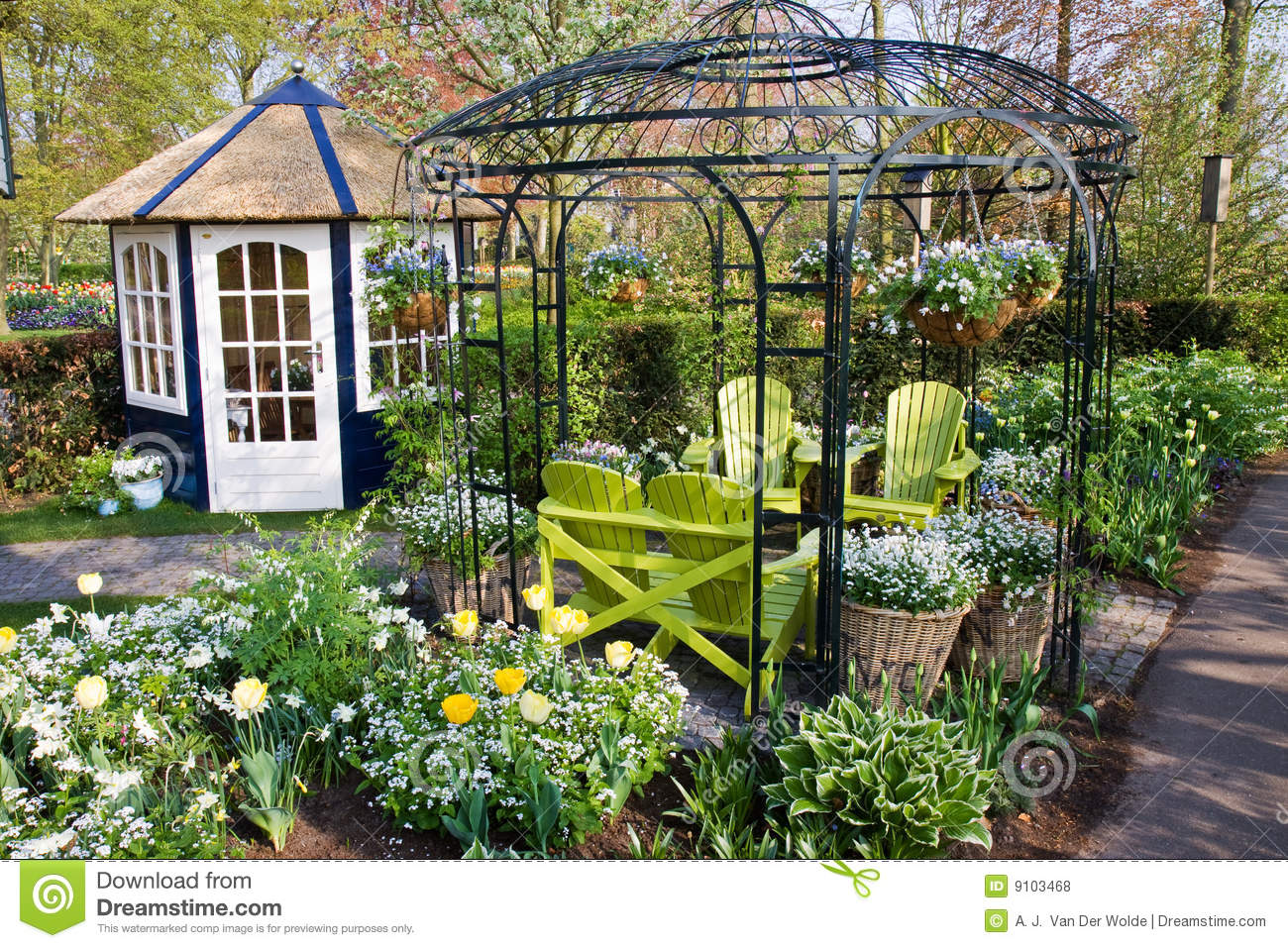 Nice Garden House With Chairs Stock Photo