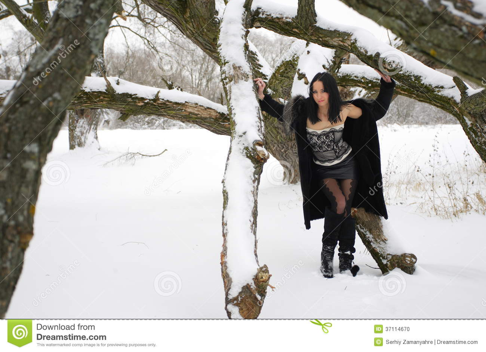 Nice Girl In The Snowy Landscape.winter Outdoor Scene