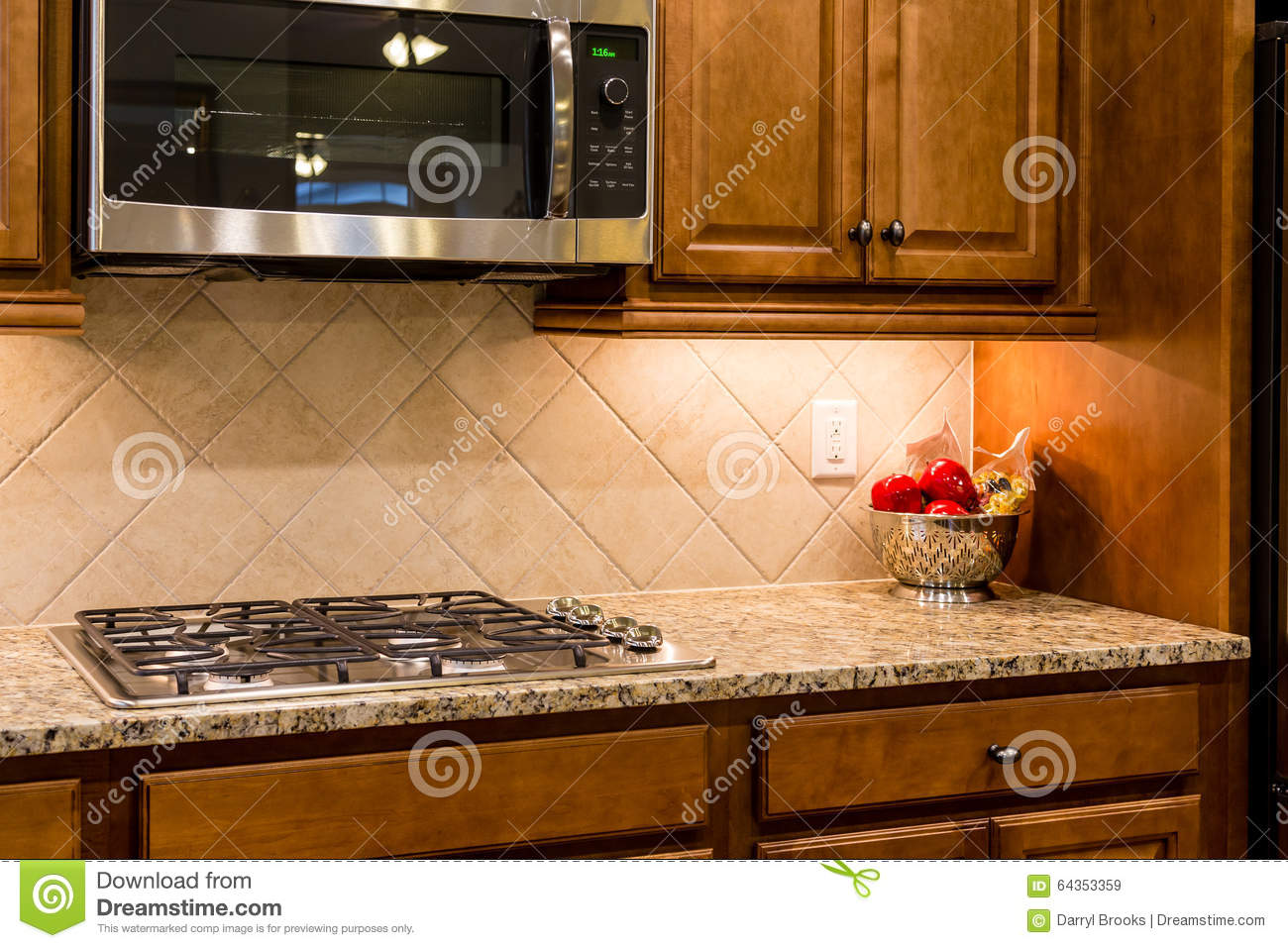 Kitchen Island With Cooktop Nice Granite Countertop With Gas Range Stock Photo Image