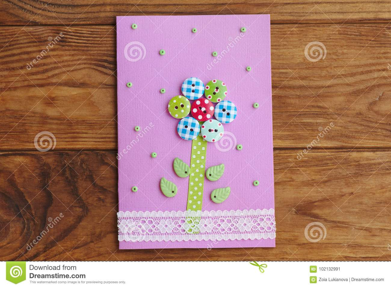 Nice Greeting Card Isolated On A Wooden Background Paper For Happy Birthday Or