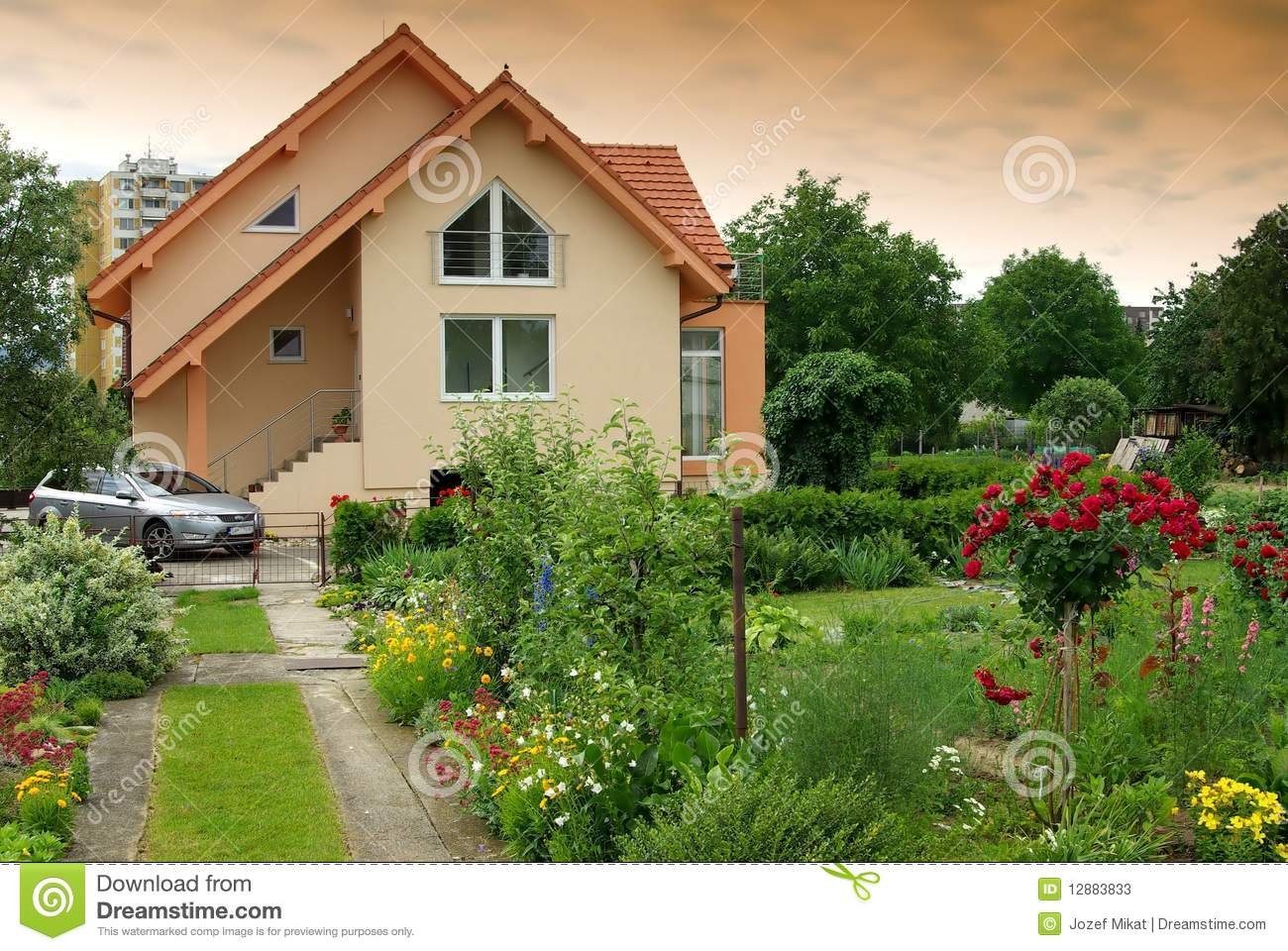 Nice house with the garden stock photos image 12883833 for Nice home image