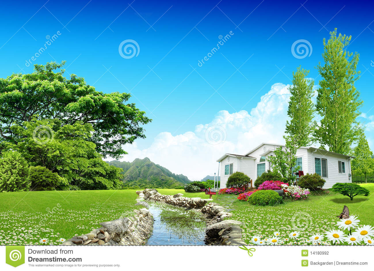 Nice House On Green Field Stock Photo. Image Of Cloud