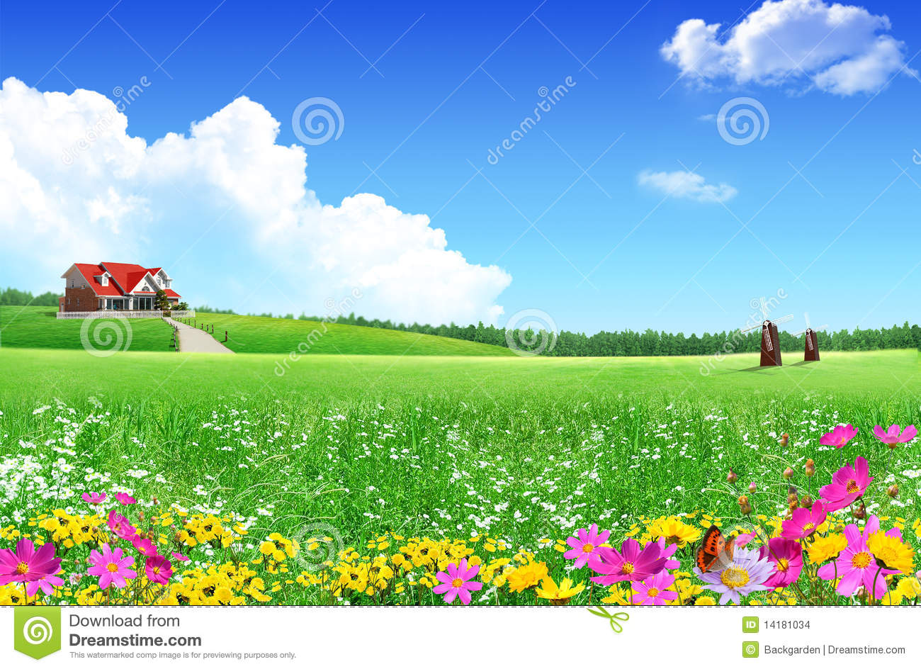 Nice House On Green Field Stock Images