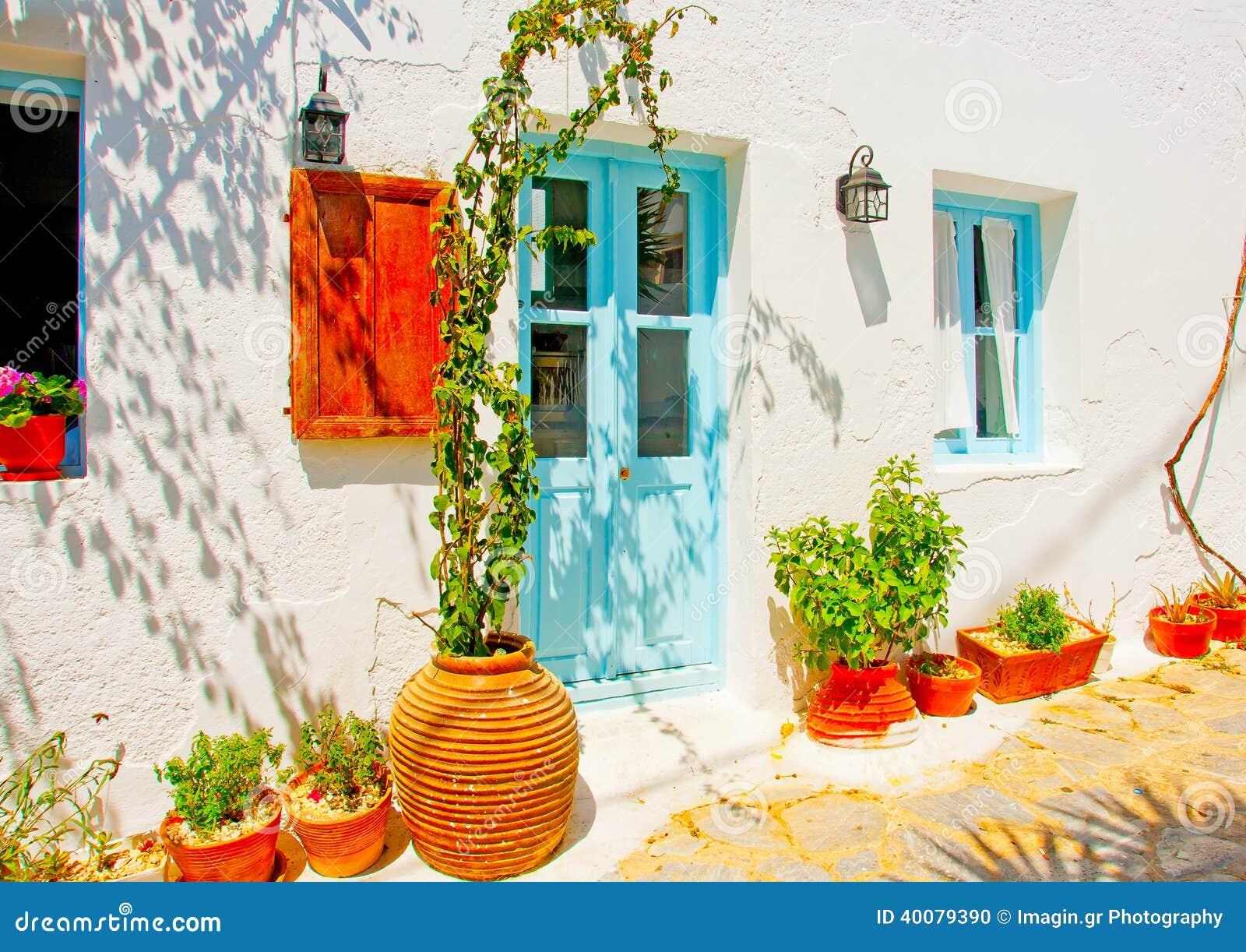Nice house stock photo image of aegean door pergola for Classic house plants
