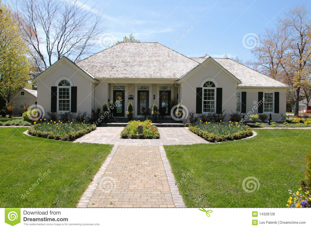 Nice house with symmetrical landscaping stock photo for Nice home image
