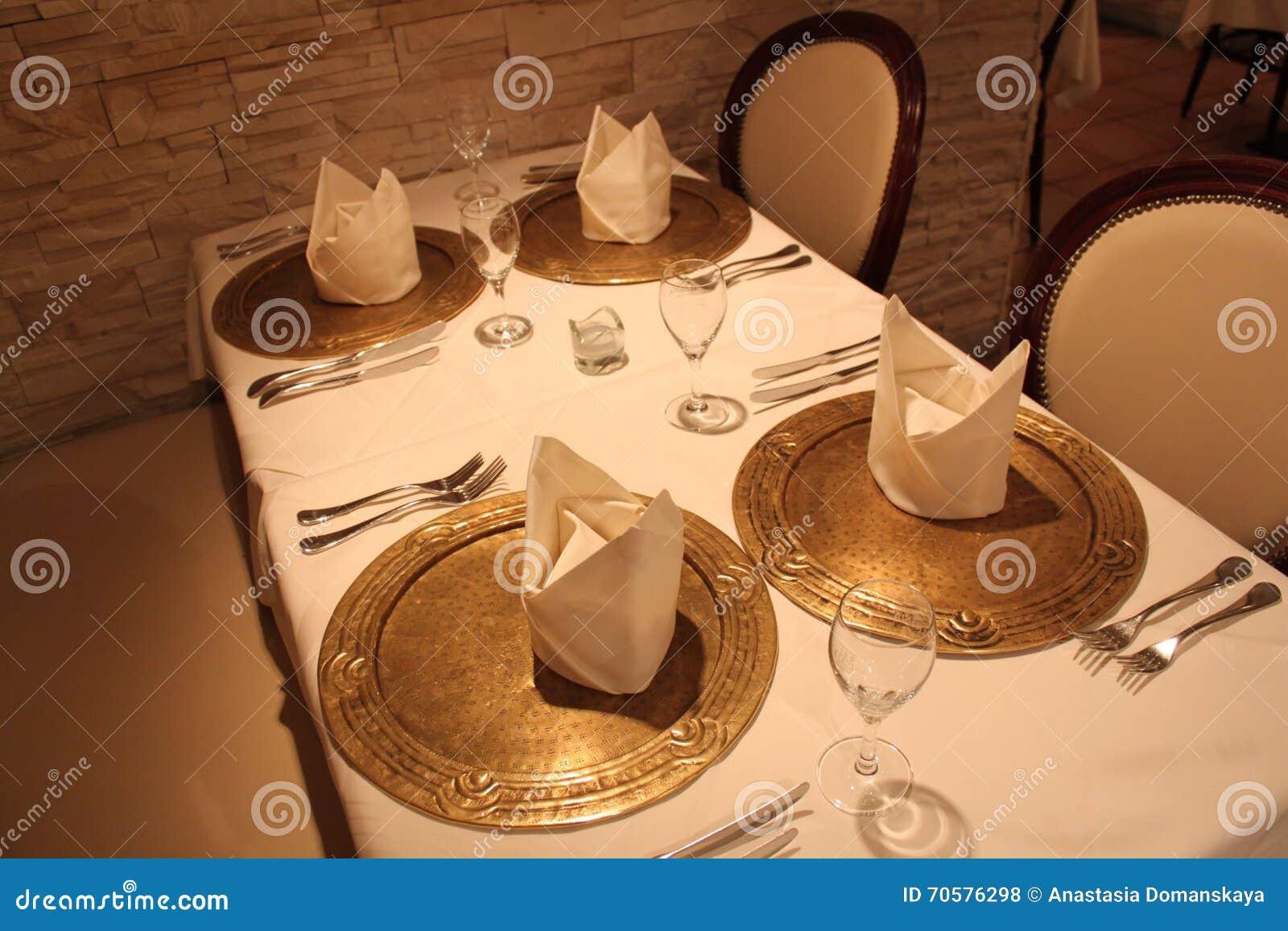 Nice Interior Restaurant Beautiful Table Decoration Stock