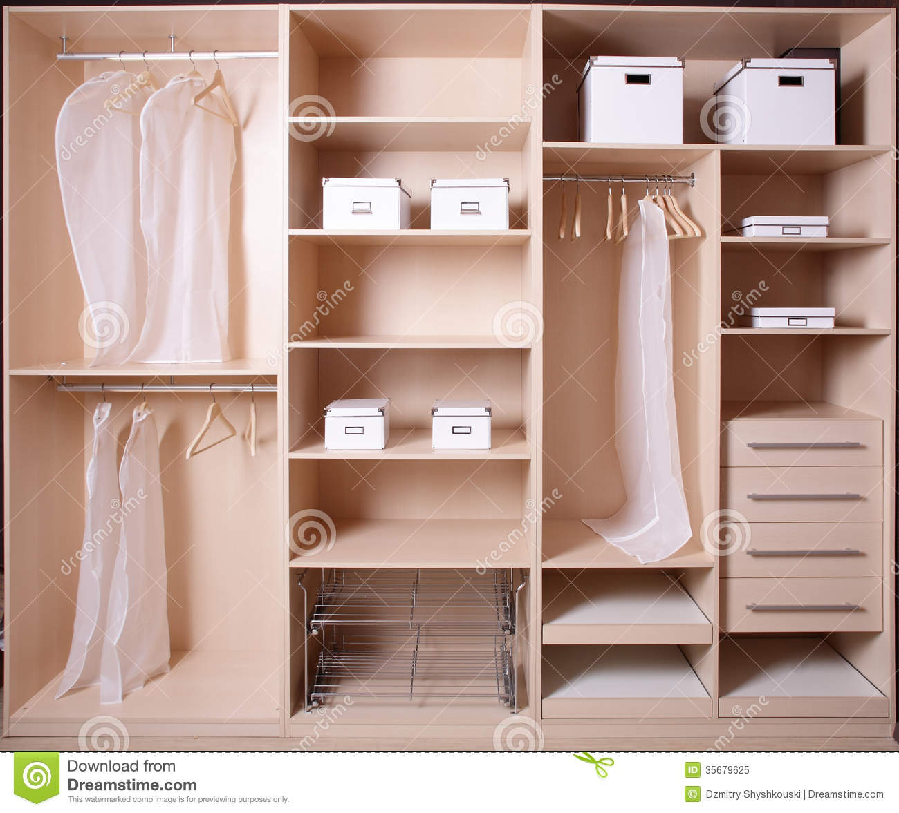 nice interior of wooden wardrobe stock image image 35679625. Black Bedroom Furniture Sets. Home Design Ideas