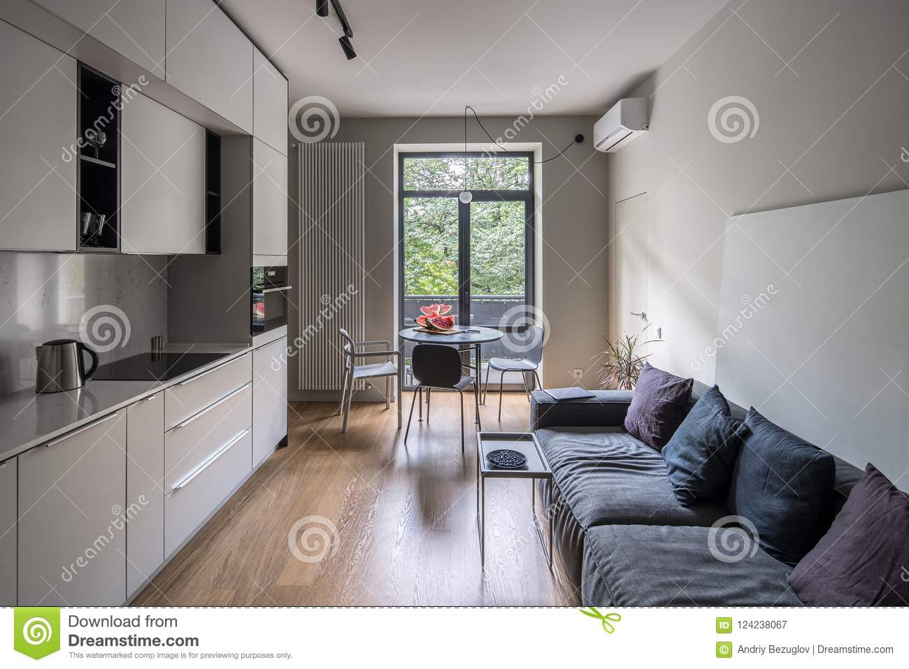 nice kitchen in modern style with light walls stock image image of