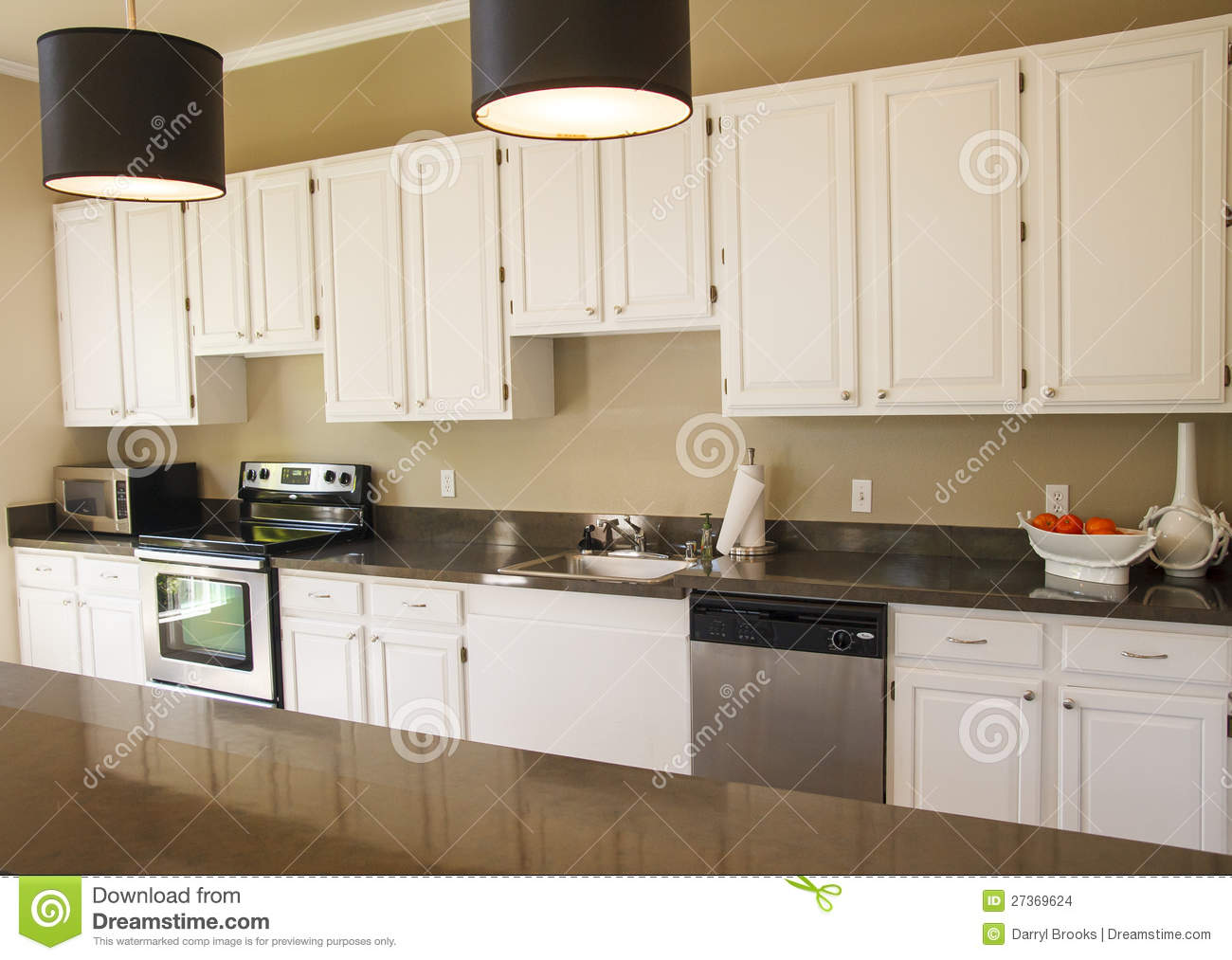 Nice kitchen with white cabinets stock images image for Nice kitchen