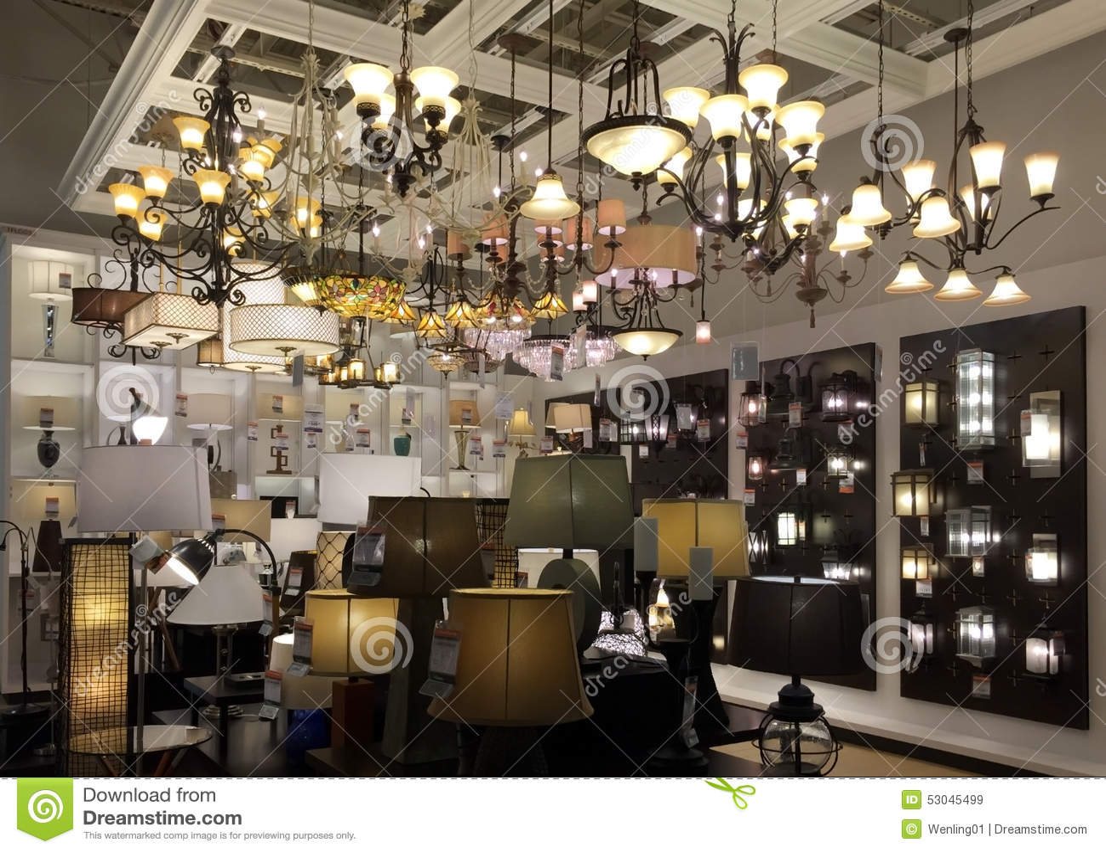 Light fixtures selling at furniture market background