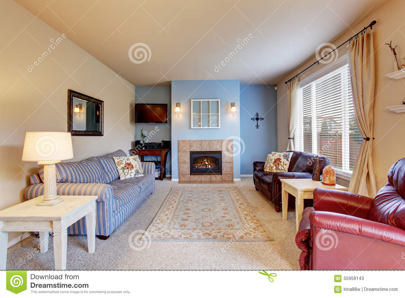 Nice Living Room With Blue Walls And Carpet Stock Image Image 55959143