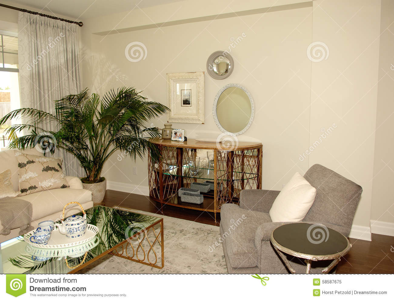Nice Chairs For Living Room: Nice Living Room In A New House. Stock Photo