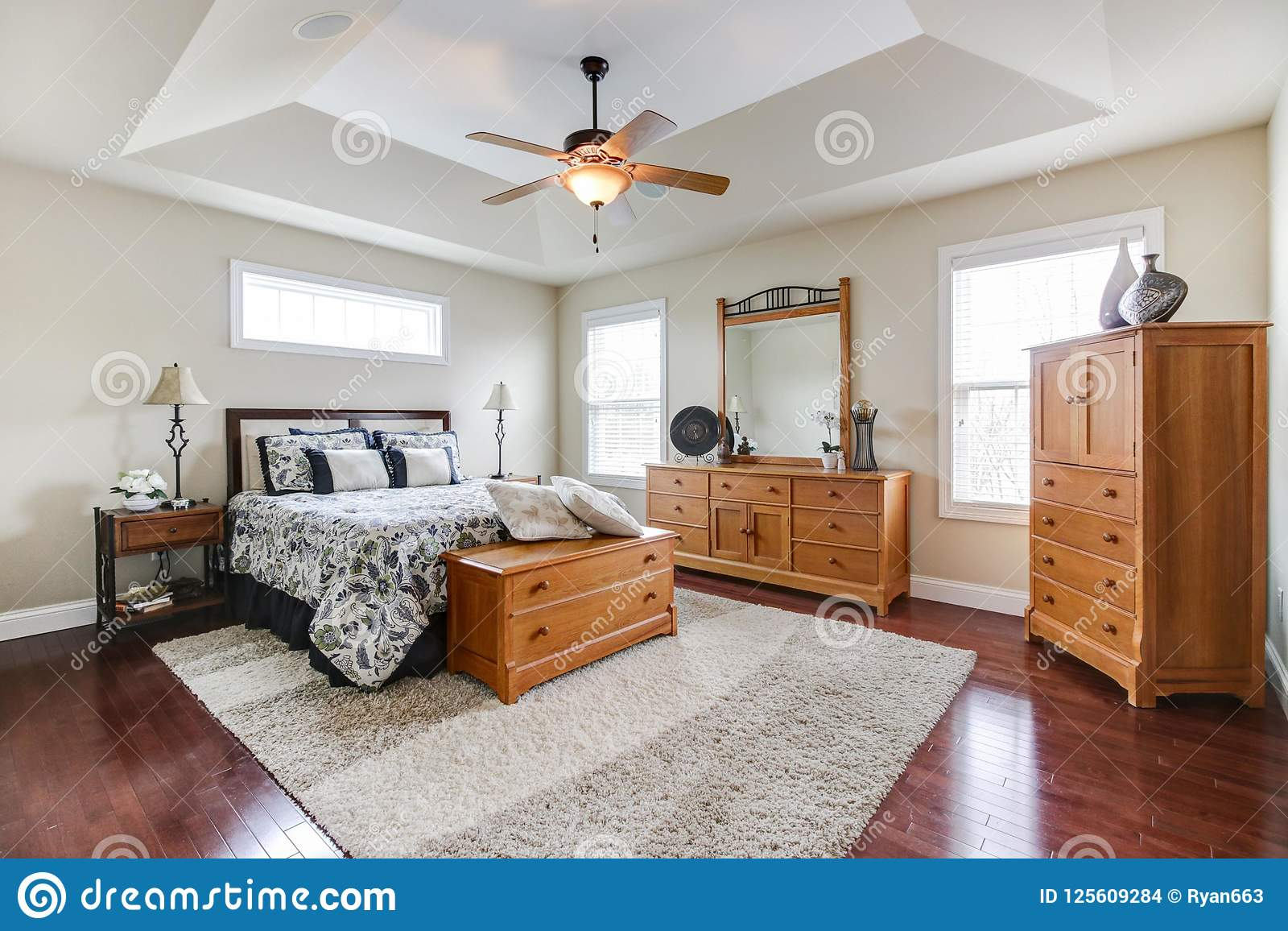 Nice Master Suite With Tray Ceililng Stock Photo - Image of ...