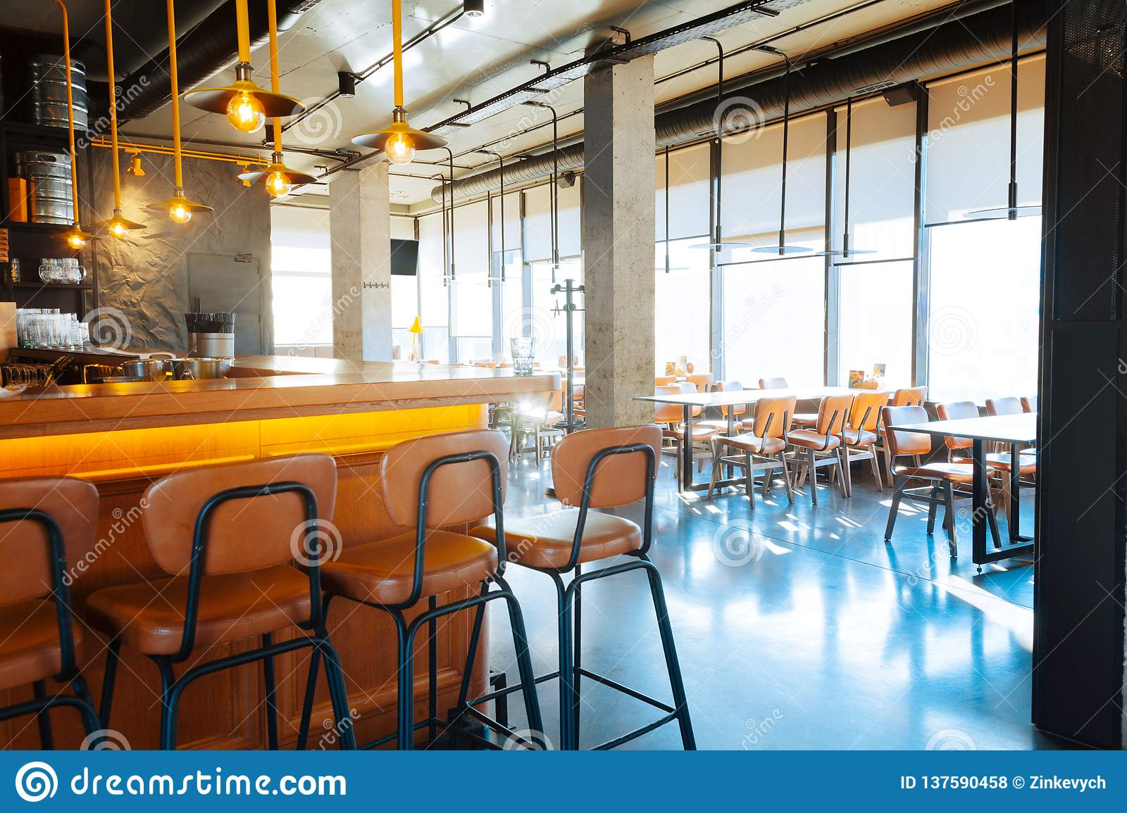 Nice Modern Bar Stand Situated Near Tables In Restaurant Stock Photo Image Of Fashionable Relaxation 137590458